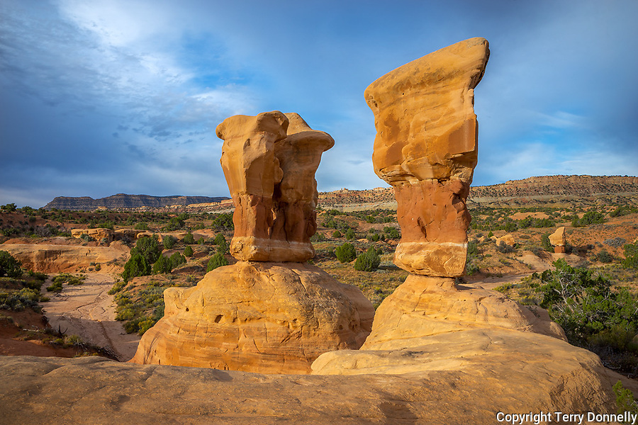 Grand Staircase-Escalante National Monument, Utah<br /> Sandstone formations of the Devil's Garden Outstanding Natural Area, Straight Cliffs in the distance