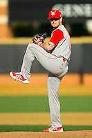 North Carolina State Wolfpack relief pitcher Andrew Woeck (13) in action against the Wake Forest Demon Deacons at Wake Forest Baseball Park on March 16, 2013 in Winston-Salem, North Carolina.  The Demon Deacons defeated the Wolfpack 13-4.  (Brian Westerholt/Four Seam Images)
