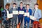 Leon Shaleba, Stephen Ryan, Tristan Raymond, Thomas Dwyer and Darragh Boyd at their Mercy Mounthawk Graduation ceremony in St John's on Friday.