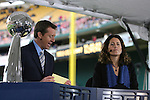18 November 2007: ESPN broadcasters Rob Stone and Julie Foudy with the Alan I. Rothenberg trophy. The Houston Dynamo defeated the New England Revolution 2-1 at RFK Stadium in Washington, DC in MLS Cup 2007, Major League Soccer's championship game.