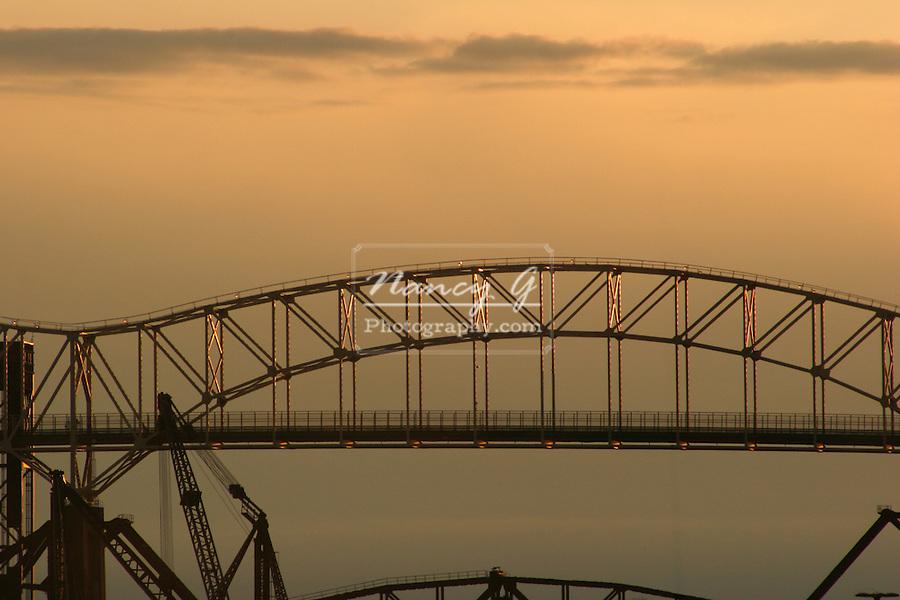International Bridge between Michigan US and Canada at sunset
