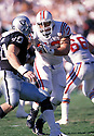 New England Patriots John Hannah(73) in action during a game against the Los Angeles Raiders at Los Angeles Memorial Coliseum in Los Angeles , California on November 26, 1989. The Raiders beat the Patriots 24-21. John Hannah played for 13 years all with the Patriots  and was inducted to the Pro Football Hall of Fame in 1991.David Durochik/SportPics
