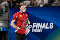 10th January 2020; Sydney Olympic Park Tennis Centre, Sydney, New South Wales, Australia; ATP Cup Australia, Sydney, Day 8; Belgium versus Spain;David Goffin of Belgium versus Rafael Nadal of Spain; David Goffin of Belgium reacts after winning a point in his match against  Rafael Nadal of Spain - Editorial Use