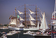 July 03, 1986, New york City. Liberty Weekend was the celebration of the restoration and centenary of the Statue of Liberty. Libertad, the Argentine Navy vessel.