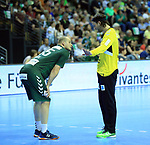 09.06.2019, Max Schmeling Halle, Berlin, GER, DHB,  1.HBL,  FUECHSE BERLIN VS. HSG Wetzlar,<br /> DHB regulations prohibit any use of photographs as image sequences and/or quasi-video<br /> im Bild Paul Drux (Fuechse Berlin #95), Silvio Heinevetter (Fuechse Berlin #12)<br /> <br />      <br /> Foto © nordphoto / Engler