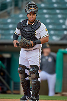 Roberto Pena (31) of the Salt Lake Bees during the game against the Tacoma Rainiers at Smith's Ballpark on May 27, 2019 in Salt Lake City, Utah. The Bees defeated the Rainiers 5-0. (Stephen Smith/Four Seam Images)