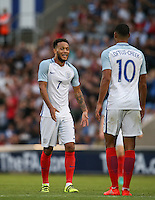 Lewis Baker (Vitesse Arnhem, loan from Chelsea) of England celebrates with goalscorer Ruben Loftus-Cheek (Chelsea) of England during the International EURO U21 QUALIFYING - GROUP 9 match between England U21 and Norway U21 at the Weston Homes Community Stadium, Colchester, England on 6 September 2016. Photo by Andy Rowland / PRiME Media Images.