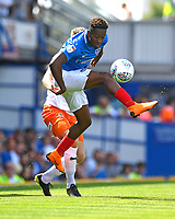 Jamal Lowe of Portsmouth wins the ball during Portsmouth vs Luton Town, Sky Bet EFL League 1 Football at Fratton Park on 4th August 2018