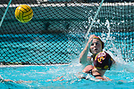 LOS ANGELES, CA - MAY 13: Amanda Longan #1A of the University of Southern California watches a Stanford University shot attempt during the Division I Women's Water Polo Championship held at the Uytengsu Aquatics Center on the USC campus on May 13, 2018 in Los Angeles, California. USC defeated Stanford 5-4. (Photo by Tim Nwachukwu/NCAA Photos via Getty Images)