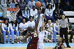 01 February 2015: North Carolina's Allisha Gray (right) shoots over Boston College's Karima Gabriel (25). The University of North Carolina Tar Heels hosted the Boston College Eagles at Carmichael Arena in Chapel Hill, North Carolina in a 2014-15 NCAA Division I Women's Basketball game. UNC won the game 72-60.