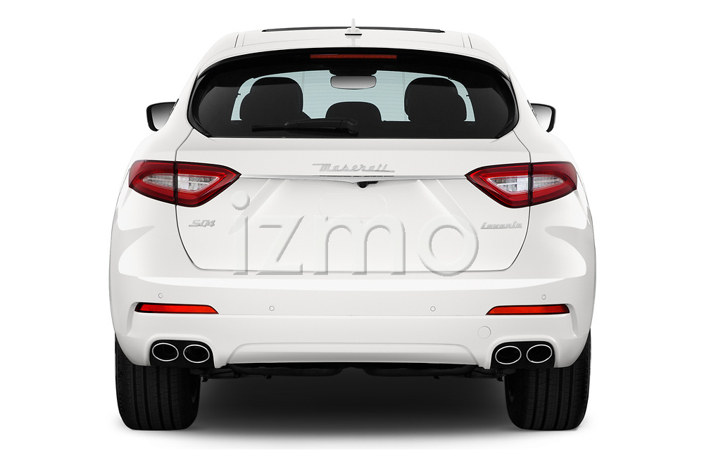 Straight rear view of a 2020 Maserati Levante S 5 Door SUV stock images