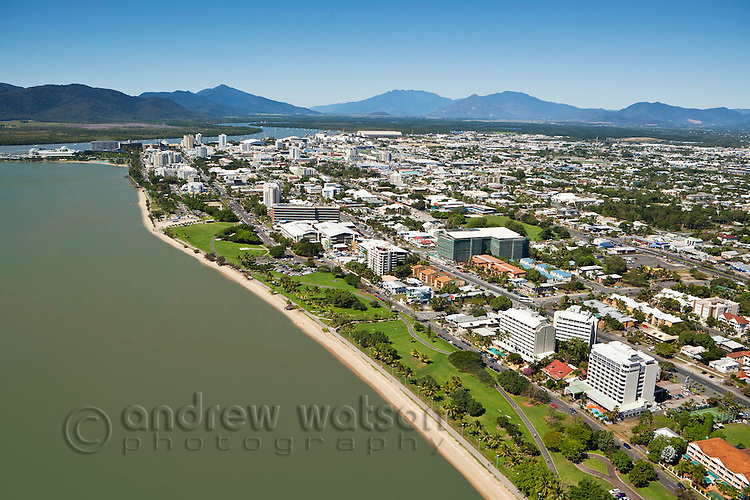 View along Esplanade to central business district.  Cairns, Queensland, Australia