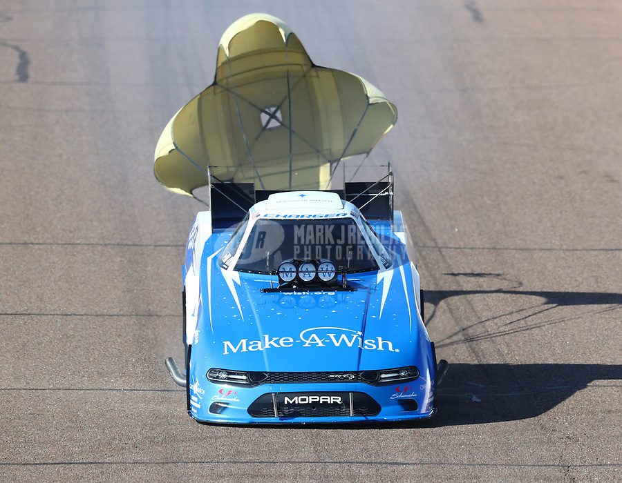 Feb 23, 2019; Chandler, AZ, USA; NHRA funny car driver Tommy Johnson Jr during qualifying for the Arizona Nationals at Wild Horse Pass Motorsports Park. Mandatory Credit: Mark J. Rebilas-USA TODAY Sports