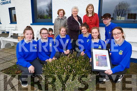 Castleisland Community College students who were awarded  the National Youth Award for their work with the Tidy Towns  l-r:Shauna Ahern, Laura Fleming, Sarah O'Donovan, Maeve Young, Josh Horan, Aisling O'Connell, Danni Reidy, Back row: Mary Walsh, Sheila Hannon and  Doreen Killington