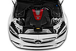 Car stock 2019 Mercedes Benz C-CLass 43-AMG 4 Door Sedan engine high angle detail view