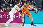 Real Madrid Rudy Fernandez and Valencia Basket Fernando San Emeterio during Liga Endesa match between Real Madrid and Valencia Basket at Wizink Center in Madrid , Spain. March 25, 2018. (ALTERPHOTOS/Borja B.Hojas)