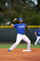 Indiana State Sycamores second baseman Brian Fuentes (3) attempts to turn a double play during a game against the Chicago State Cougars on February 23, 2020 at North Charlotte Regional Park in Port Charlotte, Florida.  Chicago State defeated Indiana State 3-0.  (Mike Janes/Four Seam Images)
