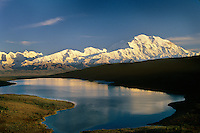 Mount McKinley and Wonder Lake, Denali National Park, Alaska.  Sept.