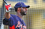 6 March 2012: Atlanta Braves outfielder Jason Heyward awaits his turn in the batting cage prior to a Spring Training game against the Washington Nationals at Champion Park in Disney's Wide World of Sports Complex, Orlando, Florida. The Nationals defeated the Braves 5-2 in Grapefruit League action. Mandatory Credit: Ed Wolfstein Photo