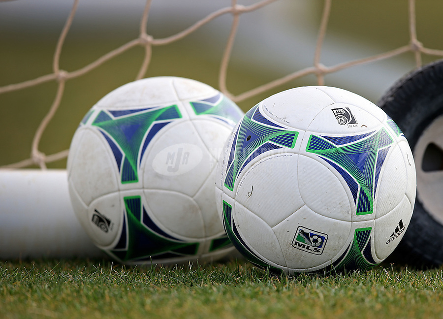 Jan. 25, 2013; Casa Grande, AZ, USA: Detailed view of MLS soccer balls prior to the preseason game between the New England Revolution against the Sporting KC at Grande Sports World. Mandatory Credit: Mark J. Rebilas-USA TODAY Sports