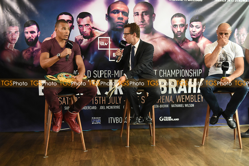 General view as Chris Eubank Jnr (L) and Arthur Abraham are interviewed during a Press Conference at the Sky Bar, Hilton Hotel on 13th July 2017