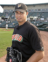 September 5, 2004:  Pitcher Fernando Cabrera of the Buffalo Bisons, International League (AAA) affiliate of the Cleveland Indians, during a game at Frontier Field in Rochester, NY.  Photo by:  Mike Janes/Four Seam Images
