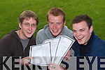 BRILLIANT: Three students from Brookfield College who all achieved the maximum 600 points in the Leaving Certificate - TJ Nolan, Castleisland, Paidi O Dubhshlaine, Castlemaine, and Ara Francis, Tralee..