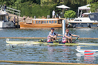 """Henley on Thames, United Kingdom, 7th July 2018, Saturday, View, """"Semi Final Double Scull Challenge Trophy, Left, Angus GROOM and Jack BEAUMONT"""", approaching """"The Mile and One Eight"""", marker,  """"Fourth day"""", of the annual,  """"Henley Royal Regatta"""", Henley Reach, River Thames, Thames Valley, England, © Peter SPURRIER,"""