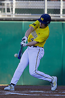 Michigan Wolverines outfielder Zach Zott (48) makes contact during the NCAA season opening baseball game against the Texas State Bobcats on February 14, 2014 at Bobcat Ballpark in San Marcos, Texas. Texas State defeated Michigan 8-7 in 10 innings. (Andrew Woolley/Four Seam Images)