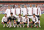 26 May 2006: The U.S. starters pose for a team shot. Front row (l to r): Josh Wolff, Ben Olsen, Chris Albright, Bobby Convey, Brian Ching. Back row (l to r): Carlos Bocanegra, Eddie Johnson, Clint Dempsey, Jimmy Conrad, Tim Howard, and Oguchi Onyewu. The United States Men's National Team defeated their counterparts from Venezuela 2-0 at Cleveland Browns Stadium in Cleveland, Ohio in a men's international friendly soccer game.