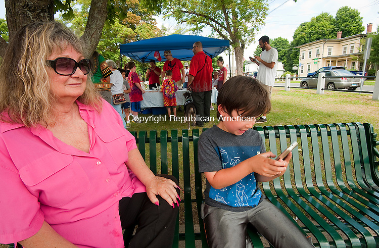 WINSTED,  CT--- -080616JS01- Eli Leonard, 5, of Berlin, right, looks for Pokemon with is grandmother Karen Dennis of Winsted on Saturday during a Pokemon Go themed food drive at East End Park in Winsted. Donations of nonperishable food items were brought to keep Lire Modules active all afternoon. The food will be donated to the Open Door Soup Kitchen in Winsted. <br />  Jim Shannon Republican American