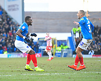 Omar Bogle of Portsmouth left scores and celebrates with James Vaughan of Portsmouth during Portsmouth vs Doncaster Rovers, Sky Bet EFL League 1 Football at Fratton Park on 2nd February 2019