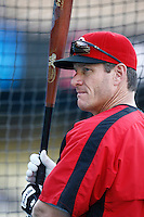 Jeff Conine of the Cincinnati Reds during batting practice before a game against the Los Angeles Dodgers in a 2007 MLB season game at Dodger Stadium in Los Angeles, California. (Larry Goren/Four Seam Images)