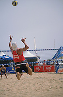 Serving, beach volleyball, Manly.