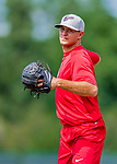 16 July 2017: Auburn Doubledays pitcher Jeremy McKinney works on pre-game drills prior to a game against the Vermont Lake Monsters at Centennial Field in Burlington, Vermont. The Monsters defeated the Doubledays 6-3 in NY Penn League action. Mandatory Credit: Ed Wolfstein Photo *** RAW (NEF) Image File Available ***