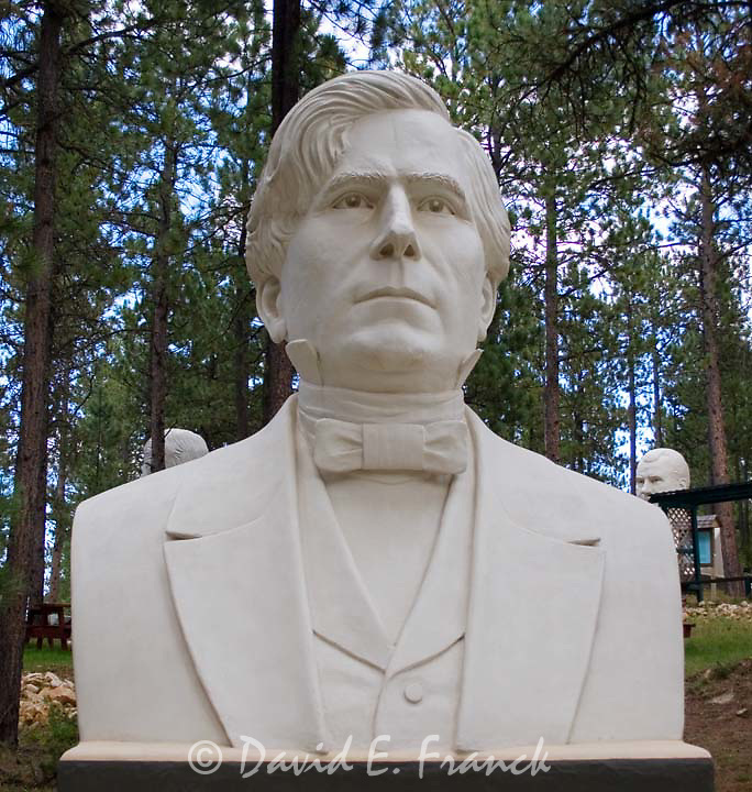 Franklin Pierce bust by sculptor David Adickes at Presidents Park in Lead South Dakota