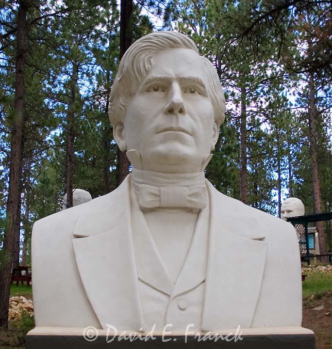 Franklin Pierce bust by sculptor David Adickes at Presidents Park in Lead South Dakota