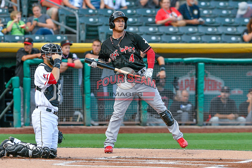 Brandon Barnes (4) of the Albuquerque Isotopes at bat against the Salt Lake Bees in Pacific Coast League action at Smith's Ballpark on August 29, 2016 in Salt Lake City, Utah. The Isotopes defeated the Bees 9-4.  (Stephen Smith/Four Seam Images)