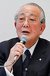 May 18th, 2011, Tokyo, Japan - Chairman Kazuo Inamori of Japan Airlines speaks during a news conference at its head office in Tokyo on Wednesday, May 18, 2011. JAL reported an operating profit for fiscal 2010 much larger than targeted in its rehabilitation plan, by booking a group operating profit of 188.4 billion yen for fiscal 2010 ended March 31, compared with a targeted profit of 64.1 billion yen. (Photo by AFLO) [3609] -mis-