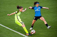 Kansas City, MO - Saturday June 17, 2017: Rebekah Stott, Erika Tymrak during a regular season National Women's Soccer League (NWSL) match between FC Kansas City and the Seattle Reign FC at Children's Mercy Victory Field.