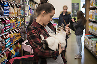 NWA Democrat-Gazette/CHARLIE KAIJO Wilson Zoo founder Amy Wilson cradles a cat during a cat adoption event, Sunday, February 10, 2019 at Pet Supplies Plus in Rogers. <br />