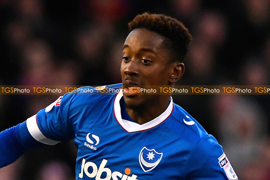 Jamal Lowe of Portsmouth made his first team debut during Portsmouth vs Exeter City, Sky Bet EFL League 2 Football at Fratton Park on 28th January 2017