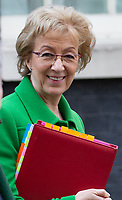Andrea Leadsom, Leader of the House of Commons, Lord President of the Council, leaves the cabinet meeting.