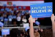 "Charlotte, NC - March 14, 2016: A man holds a sign during a campaign event speech by 2016 Democrat presidential candidate Bernie Sanders at the PNC Music Pavilion in Charlotte, North Carolina, March 14, 2016, one day before 'Super Tuesday"" voting.  (Photo by Don Baxter/Media Images International)"