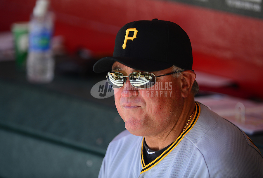 Apr. 18, 2012; Phoenix, AZ, USA; Pittsburgh Pirates manager Clint Hurdle in the first inning against the Arizona Diamondbacks at Chase Field.  Mandatory Credit: Mark J. Rebilas-