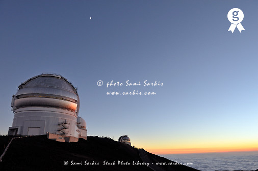 W.M. Keck Observatory at sunset, panoramic, Mauna Kea volcano, Big Island, Usa (Licence this image exclusively with Getty: http://www.gettyimages.com/detail/85985782 )