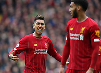 7th March 2020; Anfield, Liverpool, Merseyside, England; English Premier League Football, Liverpool versus AFC Bournemouth; Roberto Firmino of Liverpool reacts after Liverpool concede the opening goal