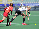 The Hague, Netherlands, June 13: Hannah Krueger #15 of Germany in action during the field hockey placement match (Women - Place 7th/8th) between Korea and Germany on June 13, 2014 during the World Cup 2014 at Kyocera Stadium in The Hague, Netherlands. Final score 4-2 (2-0)  (Photo by Dirk Markgraf / www.265-images.com) *** Local caption *** Hannah Krueger #15 of Germany, Okju Kim #17 of Korea
