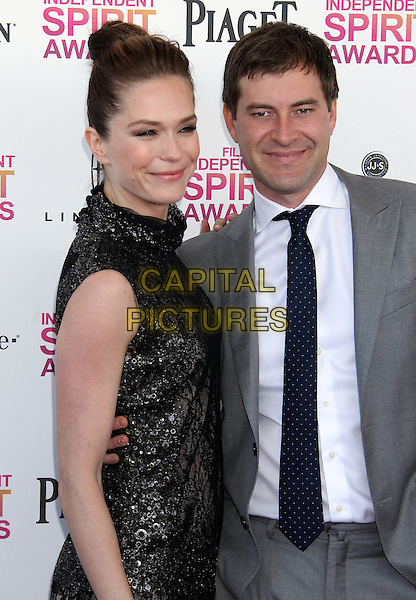 Katie Aselton & Mark Duplass.2013 Film Independent Spirit Awards - Arrivals Held At Santa Monica Beach, Santa Monica, California, USA,.23rd February 2013..indy indie indies indys half length dress sleeveless couple side white shirt black jacket grey gray.CAP/ADM/RE.©Russ Elliot/AdMedia/Capital Pictures