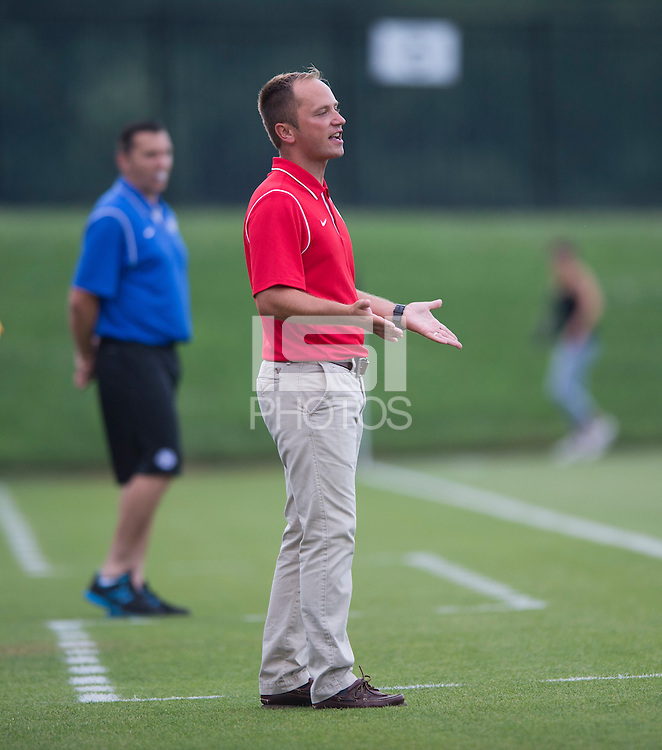 Washington Spirit head coach Mark Parsons yells to his team during the game at the Maryland SoccerPlex in Boyds, MD. The Washington Spirit tied FC Kansas City, 1-1.